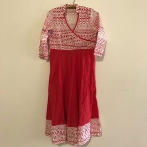 Sangria Red & White Long Maxi Dress